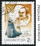 Small photo of HUNGARY - CIRCA 1987: A Stamp printed in Hungary, shows Fabian von Bellingshausen (1778-1852), Russian explorer , series Arctic research, circa 1987.