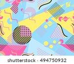 memphis seamless pattern.... | Shutterstock .eps vector #494750932