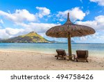 sandy beach of flic en flac... | Shutterstock . vector #494758426