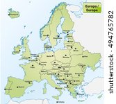 map of europe with capital... | Shutterstock .eps vector #494765782