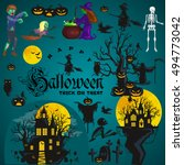 halloween background. horror... | Shutterstock .eps vector #494773042