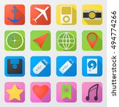 vector set of 16 flat web icons ...
