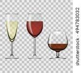 transparent glass full of wine  ... | Shutterstock .eps vector #494783032