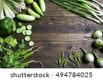 fresh organic green vegetables... | Shutterstock . vector #494784025