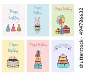set of birthday and holiday... | Shutterstock .eps vector #494786632