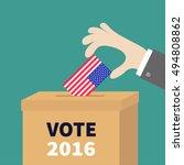ballot voting box businessman... | Shutterstock .eps vector #494808862