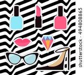 quirky cartoon sticker patch... | Shutterstock .eps vector #494808865