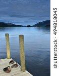 Ducks On Pier. Lake District.