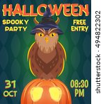 owl and pumpkin  halloween... | Shutterstock .eps vector #494822302