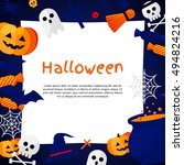 halloween background. vector... | Shutterstock .eps vector #494824216