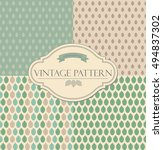 set of seamless retro leaves... | Shutterstock .eps vector #494837302
