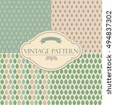 set of seamless retro leaves...   Shutterstock .eps vector #494837302