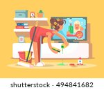 housewife cleans house | Shutterstock .eps vector #494841682