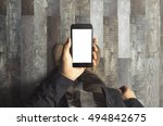 businessman holding phone | Shutterstock . vector #494842675