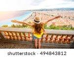 young female traveler enjoying... | Shutterstock . vector #494843812