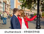 cheerful young couple on a city ... | Shutterstock . vector #494845948
