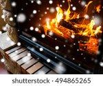 winter  christmas  warmth  fire ... | Shutterstock . vector #494865265