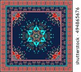 oriental scarf with ornamental... | Shutterstock . vector #494865676