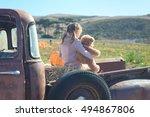 little girl hugging her teddy... | Shutterstock . vector #494867806