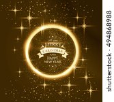 round golden glowing frame... | Shutterstock .eps vector #494868988