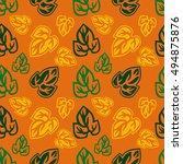 orange seamless pattern with... | Shutterstock . vector #494875876