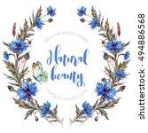 hand drawn watercolor wreath... | Shutterstock . vector #494886568