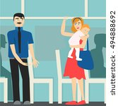 good manners. the man on the... | Shutterstock .eps vector #494888692