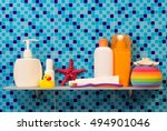 shelf in a bathroom with the... | Shutterstock . vector #494901046