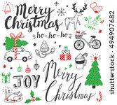 christmas doodles set | Shutterstock .eps vector #494907682