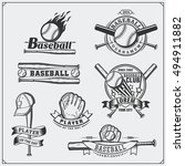 baseball club emblems  labels... | Shutterstock .eps vector #494911882