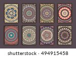 collection retro cards. ethnic... | Shutterstock .eps vector #494915458