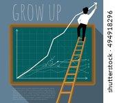 business man creating growing... | Shutterstock .eps vector #494918296