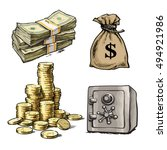 finance  money set. sketch of... | Shutterstock .eps vector #494921986
