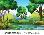Forest Scene With Trees And...