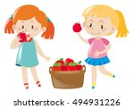 Two girls eating red apples illustration
