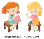 two girl sewing handkerchief... | Shutterstock .eps vector #494932195