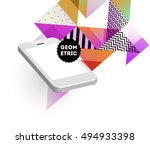 mobile phone icon with trendy... | Shutterstock .eps vector #494933398