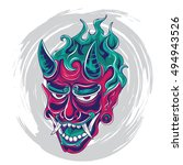 japanese demon face tattoo... | Shutterstock .eps vector #494943526