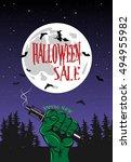 vape shop poster for halloween... | Shutterstock .eps vector #494955982
