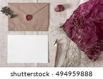 mockup with envelope  wax seal  ... | Shutterstock . vector #494959888