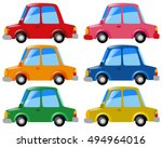 cars in six different colors... | Shutterstock .eps vector #494964016