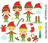 christmas elf vector cartoon... | Shutterstock .eps vector #494984122