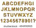 halloween candy corn font... | Shutterstock . vector #494990905