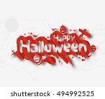 happy halloween greeting card... | Shutterstock .eps vector #494992525