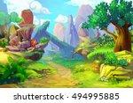 foot of the hill   scene design | Shutterstock . vector #494995885