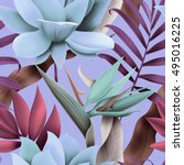 seamless tropical flower  plant ... | Shutterstock . vector #495016225