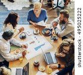 business people meeting data... | Shutterstock . vector #495025222