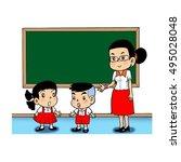 in the classroom | Shutterstock .eps vector #495028048