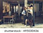 couple barista coffee shop... | Shutterstock . vector #495030436