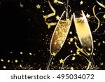 glasses with champagne against... | Shutterstock . vector #495034072